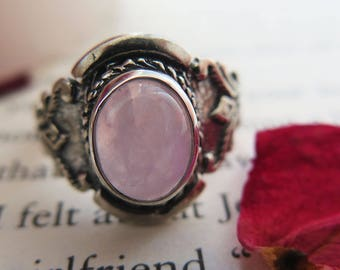 925 Sterling Silver Rose Quartz Ring - Silver Gemstone Ring - Pink Silver Ring - Pink Gemstone Ring - Handmade - Adita Jewels - Love Ring