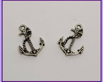 1-10, Anchor Charms, 12mm x 17mm, Tibetan Silver Charms, Jewellery Making Supplies, Nautical Charms, Seaside Charms,  Jewelry Pendants