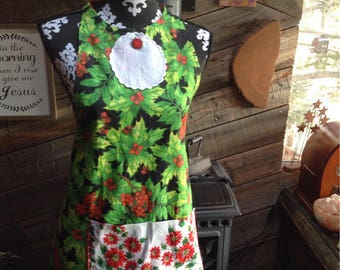 Christmas/Thanksgiving reversible apron with vintage embellishments