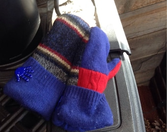 Child size sweater mittens with cute hand buttons