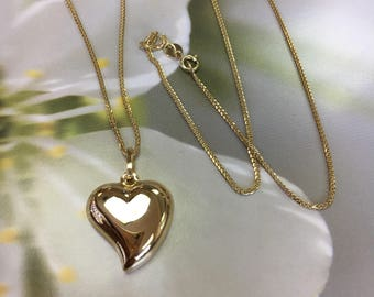 Classic 14k Yellow Gold Heart Pendant Necklace