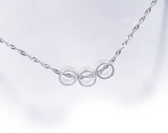 Simple Circle Digging Necklace in Solid Sterling 925 Silver (SN062)