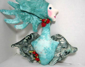 Victorian Red Roses Angel Cloth Ornament