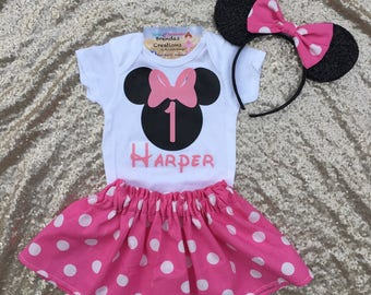 Minnie Mouse Birthday outfit, Minnie Mouse tutu, minnie mouse first birthday outfit, minnie mouse birthday shirt, minnie mouse pink outfit