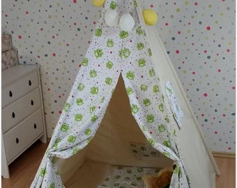 Wonderful KIDS Frogs Hearts Teepee Tent (handmade) Play House Zelt Wigwam100% cotton