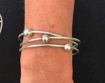 Triple Loop Bangle in Sterling Silver