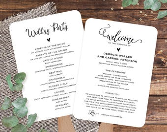 Wedding program template editable, Wedding program fans template, Wedding fan programs template, Catholic wedding ceremony program template