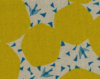 Kokka Fabric Linen Canvas - Japanese Fabric - Echino 2018 Bubbles in Yellow - Cotton Canvas Fabric - Half Yard (about 50cm) Pre Cut