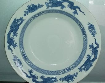 Booths Silicon China Blue & White Dragon Pattern Bowl