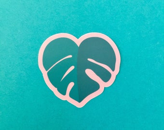 Monstera heart vinyl diecut sticker