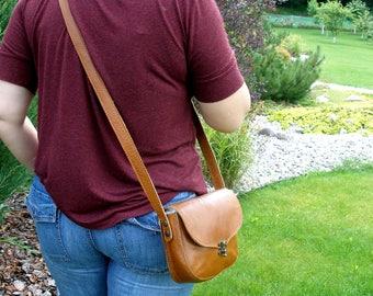 Leather bag, leather purse,  tan leather, brown leather bag, cross body bag, womens leather bag, leather shoulder bag, messenger bag