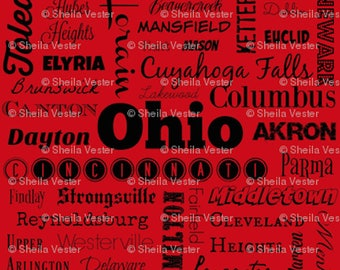 Ohio fabric - OH cities typography fat quarter - FQ - red or gray