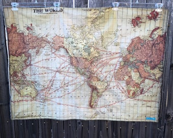 WORLD Map minky blanket- baby cuddle quilt- shoulder wrap- wheelchair lap blanket- antique map of the world- 30 by 41 in- ready to ship