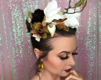 Magnolia and Butterfly Crown, Bridal Headpiece, Flower Crown