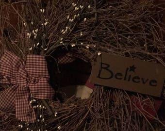 Believe Grape Vine Wreath
