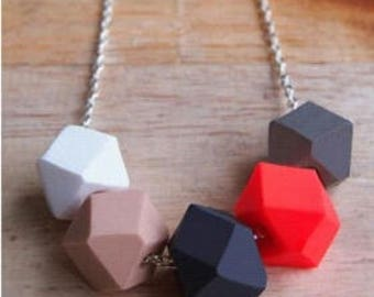 Handmade Geometric Polymer Clay and Sterling Silver Necklace