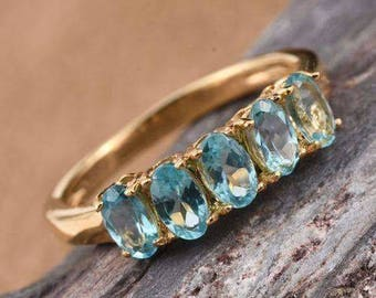 Paraibe Apatite Gold Ring