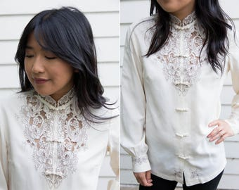 1950's Silk Chinese Knot Button Down //Embroidered Cut Out Blouse