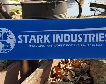 "Distressed Primitive Wood Sign - Iron Man Stark Industries sign  7.25"" x 24"""