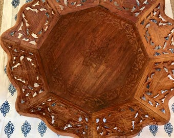 Vintage carved wood tray/platter- teak
