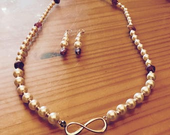 Eternity pearl necklace set