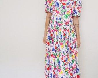Vintage 1980's Jessica Howard Flower Pot Print Dress Size Medium
