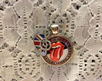 The Rolling Stones Charm Necklace/Rolling Stones Charm Necklace/The Rolling Stones Jewelry/Rolling Stones Jewelry/Rolling Stones Pendant