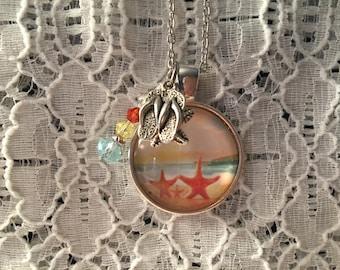 Starfish Family Charm Necklace/Starfish Charm Necklace/At the Beach Charm Necklace/Starfish Jewelry/Starfish Necklace/Starfish Pendant