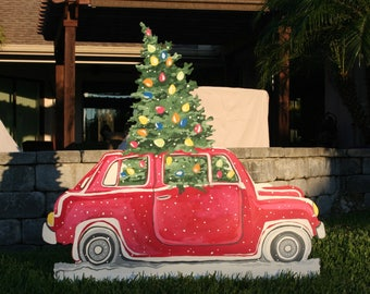 Christmas Yard Art -  Car transporting tree -  HUGE - almost 4 feet tall!
