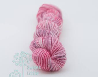Mini skein - Beautiful hand dyed pink and purple hank of sock weight superwash merino wool