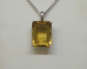 Citrine Necklace Sterling Silver/ Sterling Silver Genuine Citrine Necklace 10.14ct/ Gemstone Necklace/ Birthday Gift