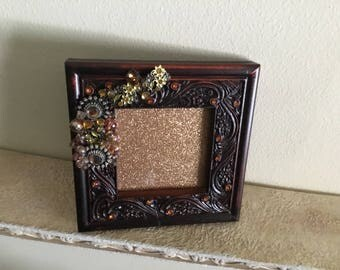 Jeweled and Elagant Dark Wood Picture/ Photo Frame with Golds and Browns