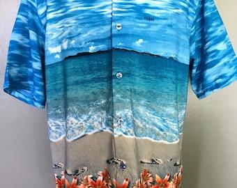 Vintage guess rare! tropical beach hawaiian vacation button down mens shirt large like new! F4