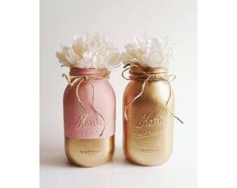 Pink Mason Jars, Pink and Gold, Gold Centerpieces