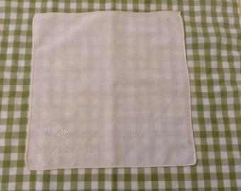 Vintage Handkerchief / Yellow Embroidery