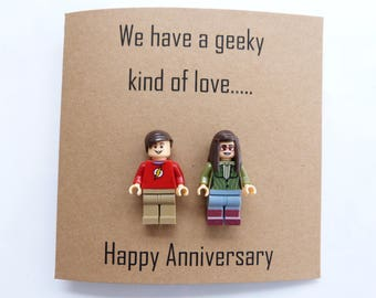 Geek husband anniversary card. Geek wife anniversary card. Big bang theory anniversary card. Geek Boyfriend card. Geek Girlfriend card.