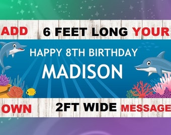 Dolphin Birthday Banner,Dolphin Birthday Party Decoration, Dolphin Banner, Dolphin Party Banner