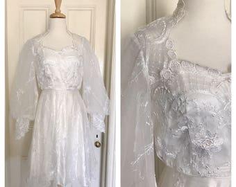 Vintage 70's Embroidred Tulle Wedding Dress