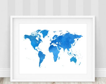Blue world map print etsy blue world map print world map print world map poster watercolor world map gumiabroncs Gallery