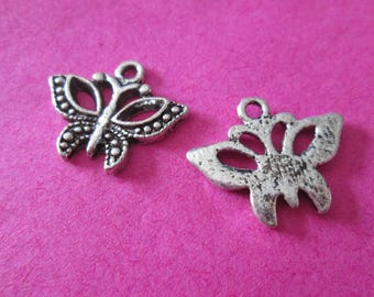 Openwork 10 Butterfly charms in silver 20 x 16 mm