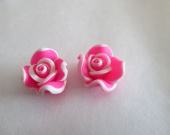 Flower Pink Fimo Fuchsia 12mm 10 beads