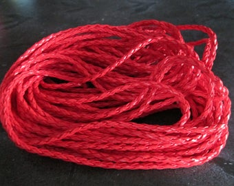 faux round 3 mm red braided leather cord