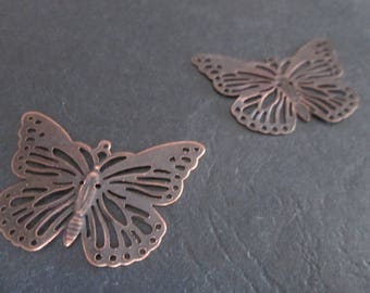 2 prints / 39 x 30 mm copper filigree Butterfly connectors