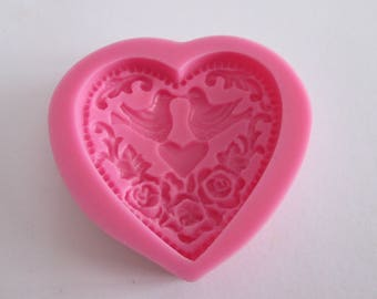 Mold silicone heart and doves, wedding theme