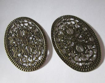 2 prints / 55 x 38 mm bronze oval charms
