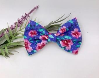 Baby Girl classic Bow Headband - Nylon Headbands - Hair clip - Infant / Toddler /  Fabric Hair Bows / Clips - purple / alice rose polka