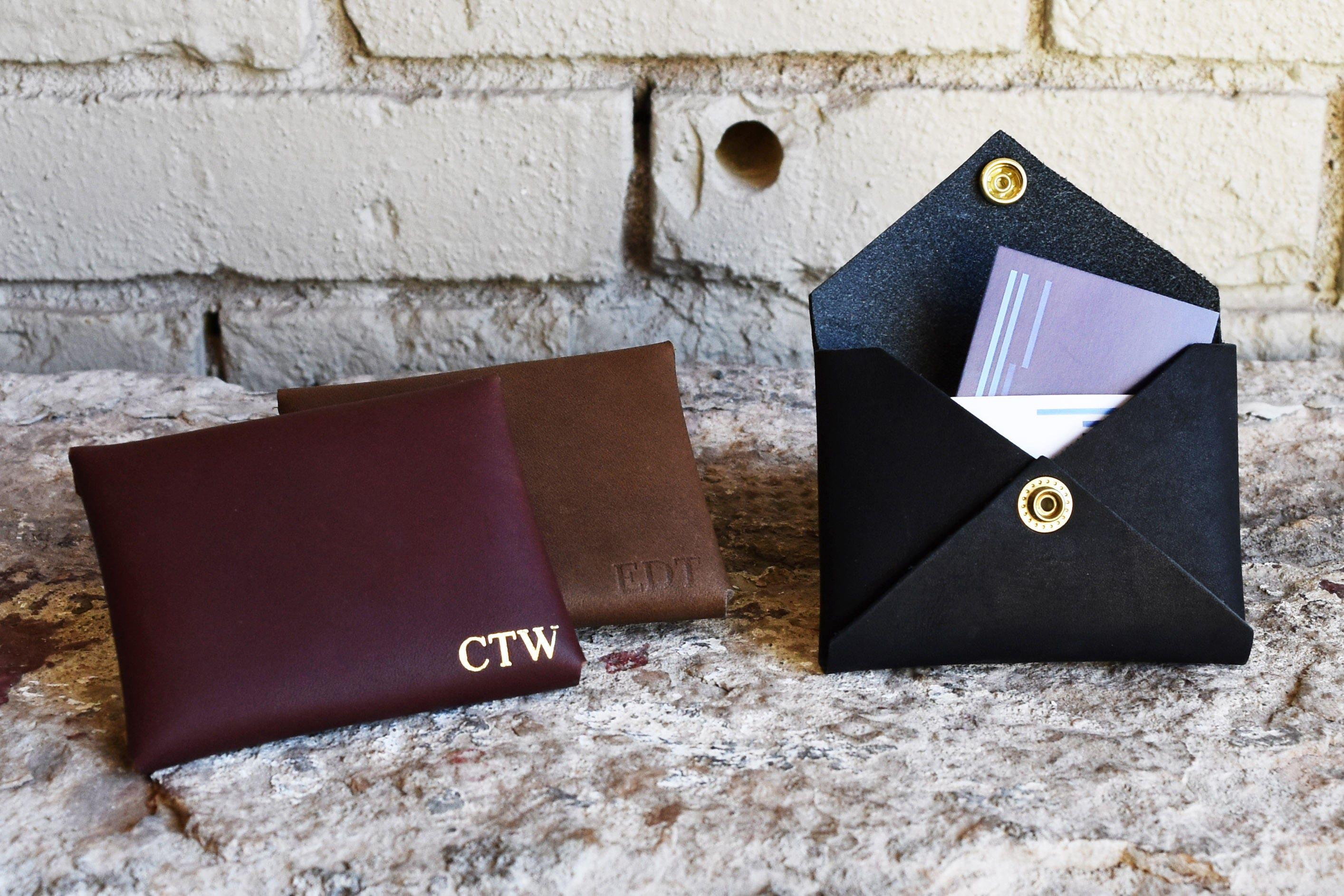 Custom Leather Card Wallet. Monogram Card Holder. Monogrammed ...
