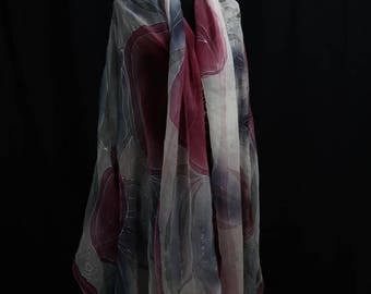 Wine-red 220x110 cm, chiffon silk, unique.