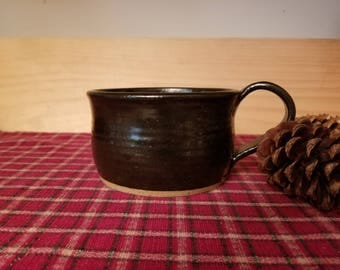 Black pottery soup mug