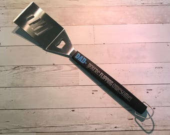 """Grill spatula """"Dad you're flipping awesome"""" father's day Christmas dad joke birthday functional gifts for him man cave decor"""